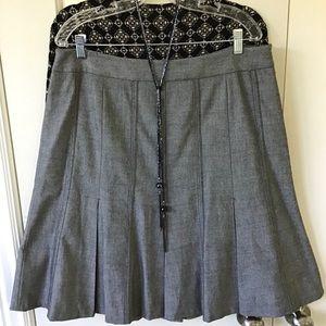 Ann Taylor Loft Black Herringbone Flounce Skirt 16